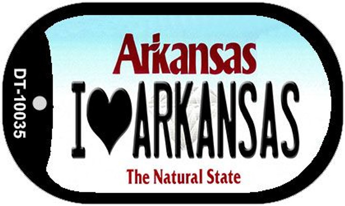 I Love Arkansas Novelty Metal Dog Tag Necklace DT-10035