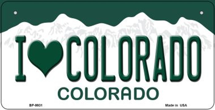 I Love Colorado Novelty Metal Bicycle Plate BP-9931