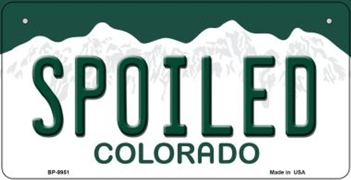 Spoiled Colorado Novelty Metal Bicycle Plate BP-9951