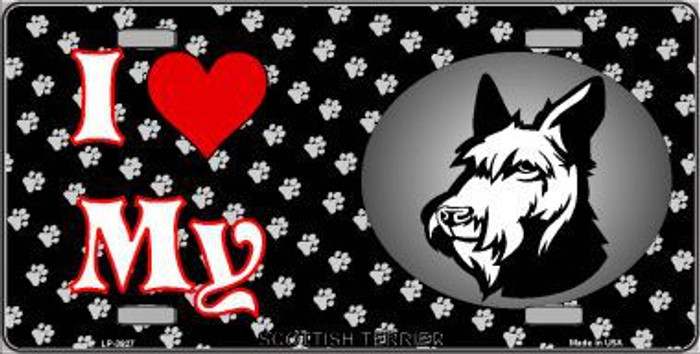 I Love My Scottish Terrier Metal Novelty License Plate LP-3927