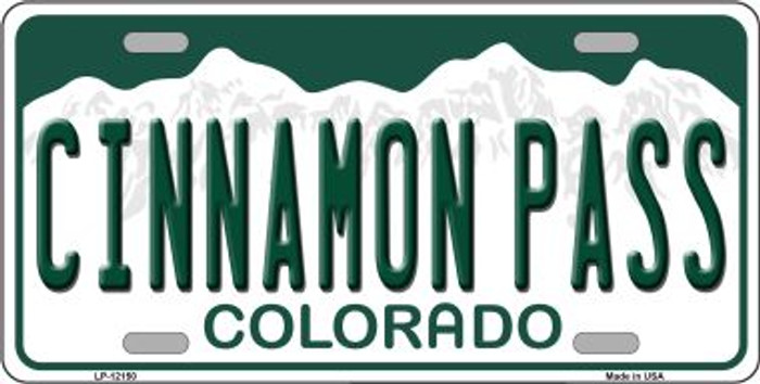 Cinnamon Pass Colorado Novelty Metal License Plate LP-12150