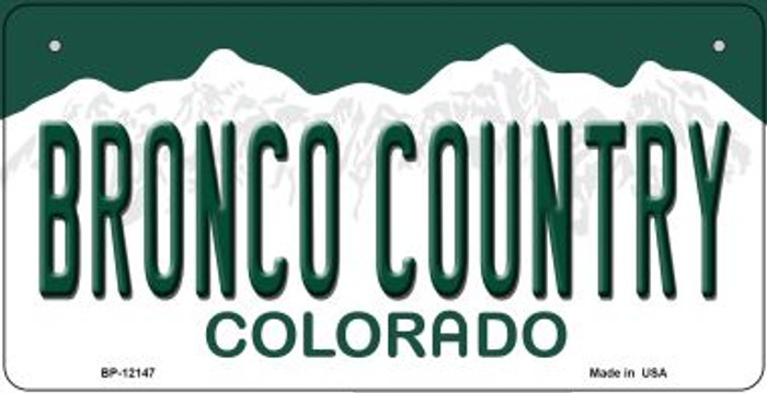 Bronco Country Colorado Novelty Metal Bicycle Plate BP-12147