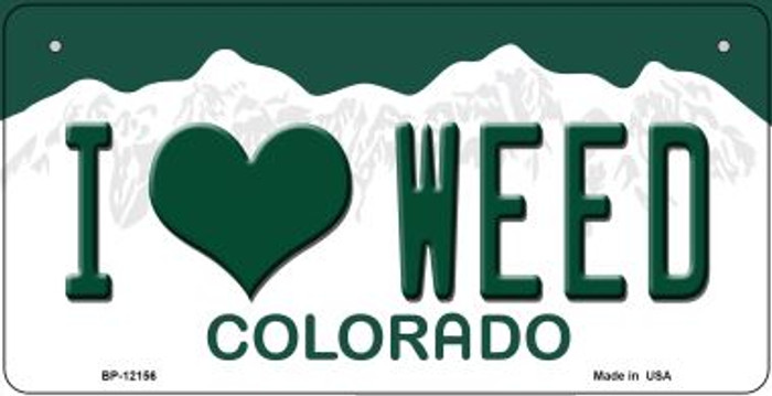 I Love Weed Colorado Novelty Metal Bicycle Plate BP-12156