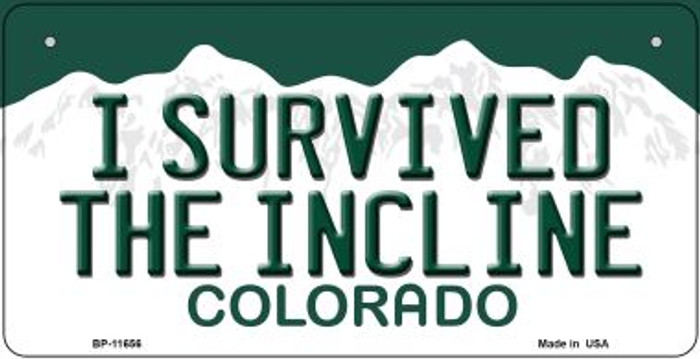 I Survived The Incline Colorado Novelty Metal Bicycle Plate BP-11656