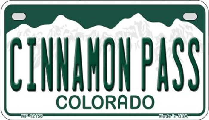 Cinnamon Pass Colorado Novelty Metal Motorcycle Plate MP-12150
