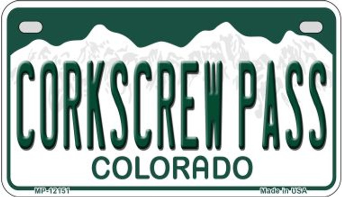 Corkscrew Pass Colorado Novelty Metal Motorcycle Plate MP-12151