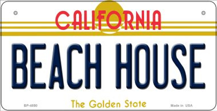 Beach House California Novelty Metal Bicycle Plate BP-4890