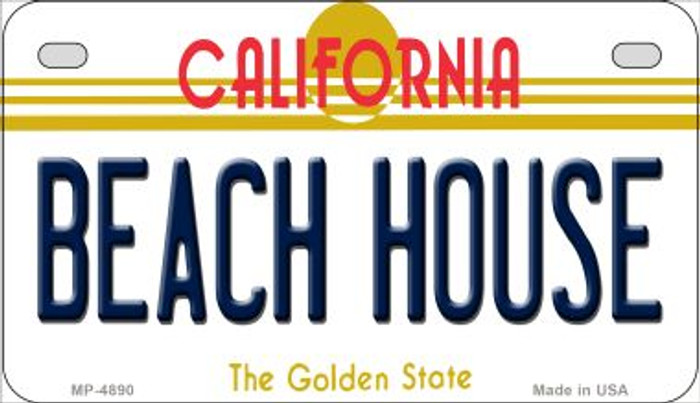 Beach House California Novelty Metal Motorcycle Plate MP-4890