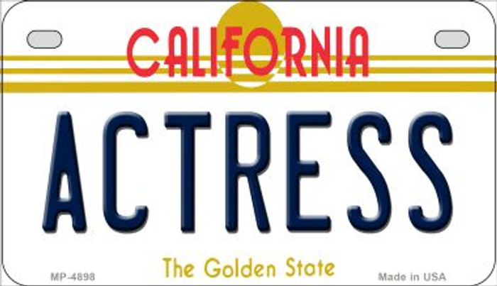 Actress California Novelty Metal Motorcycle Plate MP-4898
