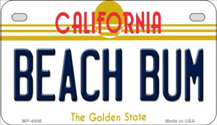 Beach Bum California Novelty Metal Motorcycle Plate MP-4906