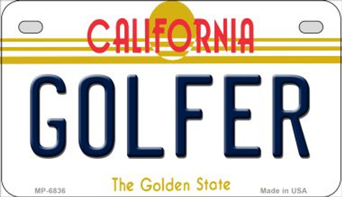 Golfer California Novelty Metal Motorcycle Plate MP-6836