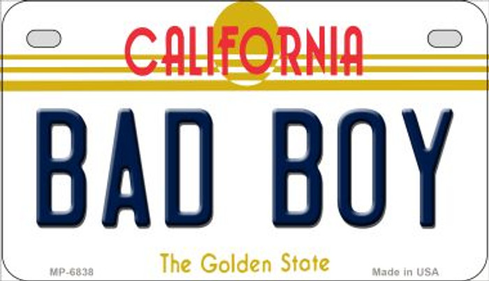 Bad Boy California Novelty Metal Motorcycle Plate MP-6838