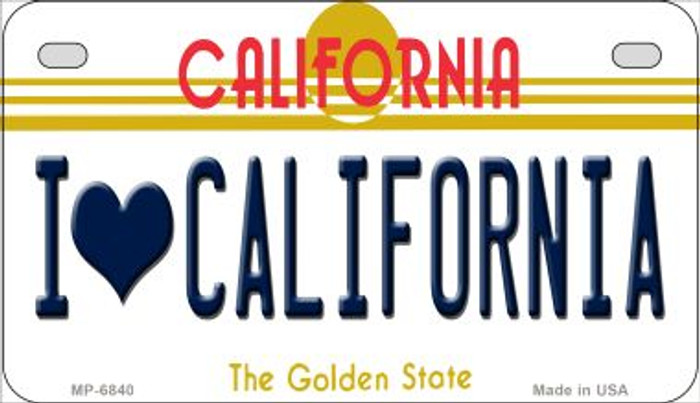 I Love California Novelty Metal Motorcycle Plate MP-6840