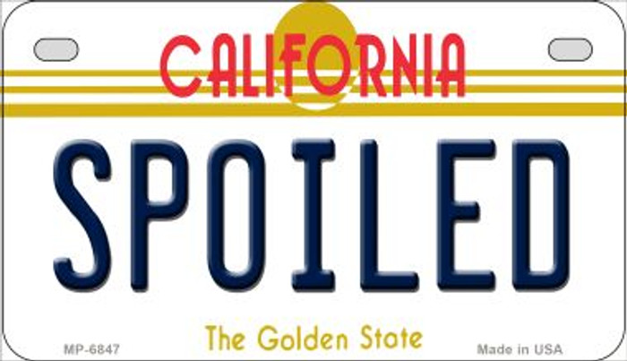 Spoiled California Novelty Metal Motorcycle Plate MP-6847