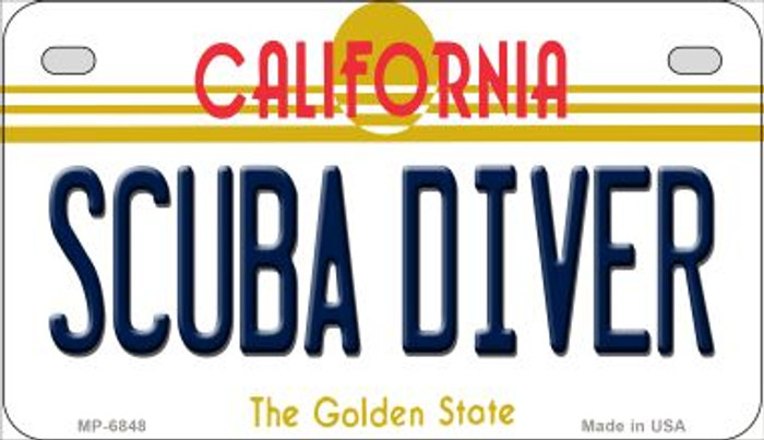 Scuba Diver California Novelty Metal Motorcycle Plate MP-6848