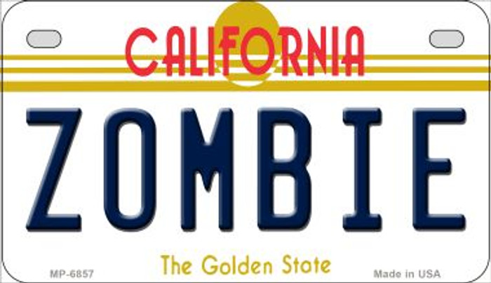Zombie California Novelty Metal Motorcycle Plate MP-6857