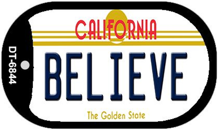 Believe California Novelty Metal Dog Tag Necklace DT-6844