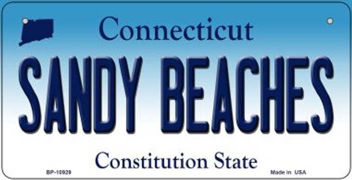Sandy Beaches Connecticut Novelty Metal Bicycle Plate BP-10929