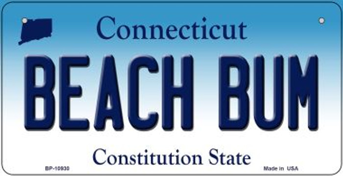 Beach Bum Connecticut Novelty Metal Bicycle Plate BP-10930