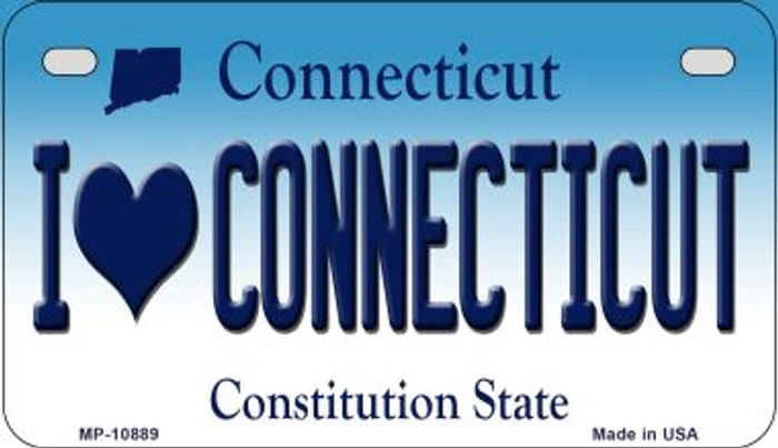 I Love Connecticut Novelty Metal Motorcycle Plate MP-10889