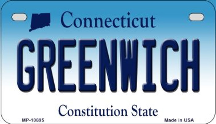 Greenwich Connecticut Novelty Metal Motorcycle Plate MP-10895