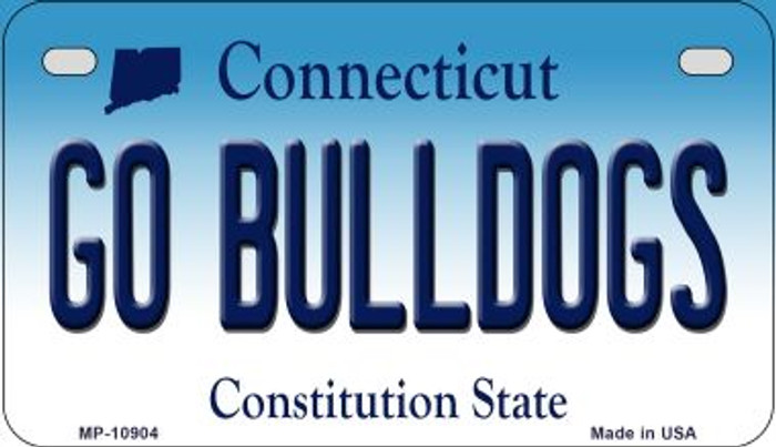 Go Bulldogs Connecticut Novelty Metal Motorcycle Plate MP-10904