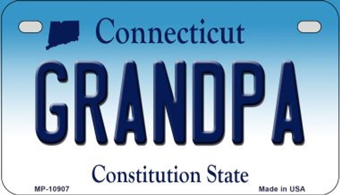 Grandpa Connecticut Novelty Metal Motorcycle Plate MP-10907
