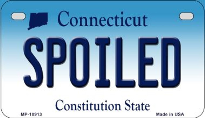 Spoiled Connecticut Novelty Metal Motorcycle Plate MP-10913