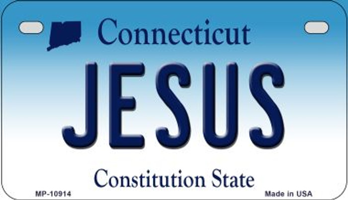Jesus Connecticut Novelty Metal Motorcycle Plate MP-10914