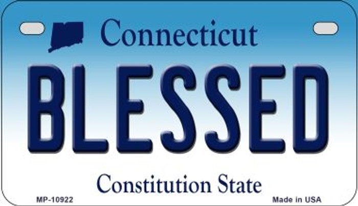 Blessed Connecticut Novelty Metal Motorcycle Plate MP-10922