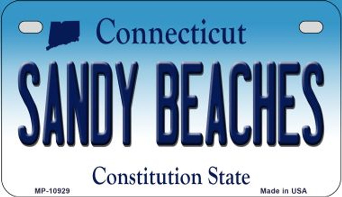 Sandy Beaches Connecticut Novelty Metal Motorcycle Plate MP-10929
