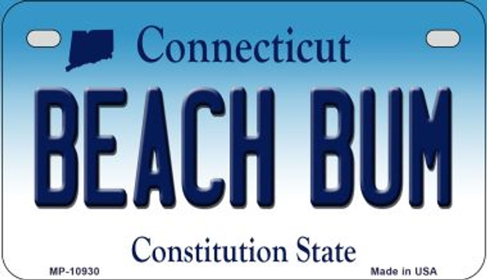 Beach Bum Connecticut Novelty Metal Motorcycle Plate MP-10930