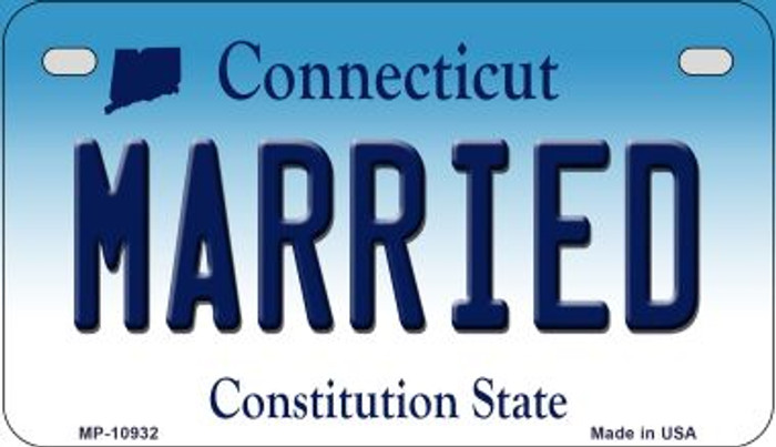 Married Connecticut Novelty Metal Motorcycle Plate MP-10932