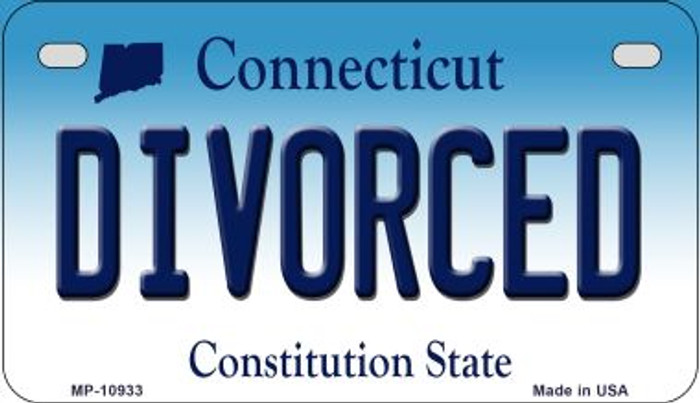 Divorced Connecticut Novelty Metal Motorcycle Plate MP-10933