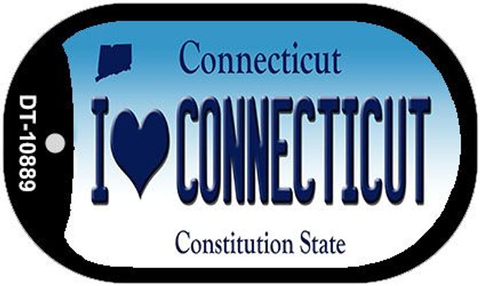 I Love Connecticut Novelty Metal Dog Tag Necklace DT-10889