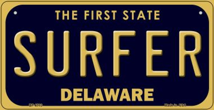 Surfer Delaware Novelty Metal Bicycle Plate BP-6713