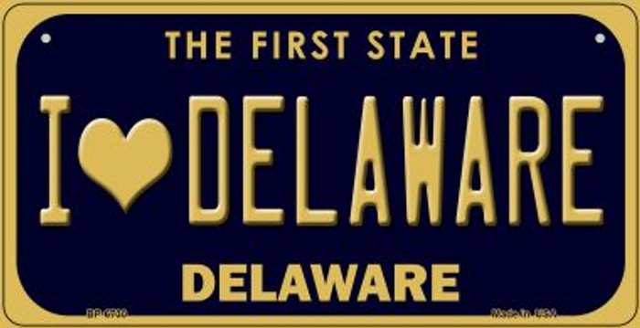 I Love Delaware Novelty Metal Bicycle Plate BP-6730