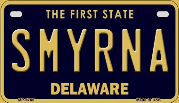 Smyrna Delaware Novelty Metal Motorcycle Plate MP-6706
