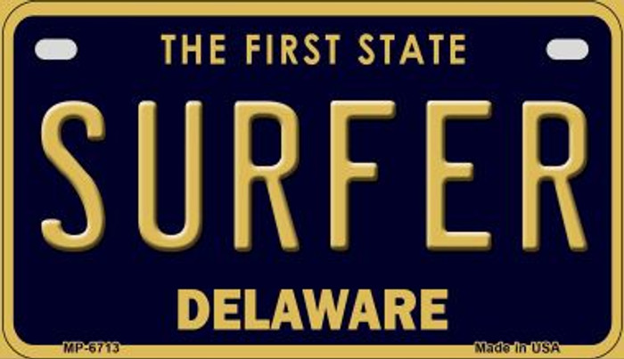 Surfer Delaware Novelty Metal Motorcycle Plate MP-6713