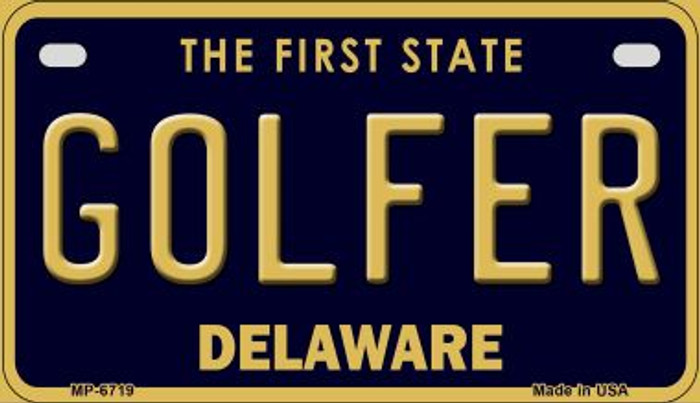 Golfer Delaware Novelty Metal Motorcycle Plate MP-6719