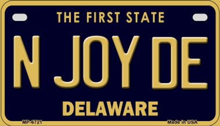 N Joy DE Delaware Novelty Metal Motorcycle Plate MP-6721