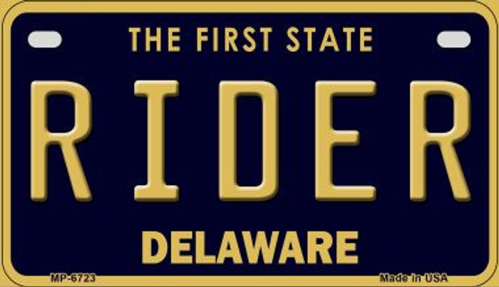 Rider Delaware Novelty Metal Motorcycle Plate MP-6723