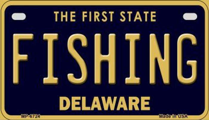 Fishing Delaware Novelty Metal Motorcycle Plate MP-6724