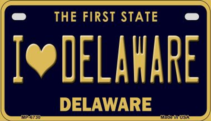 I Love Delaware Novelty Metal Motorcycle Plate MP-6730