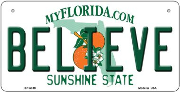 Believe Florida Novelty Metal Bicycle Plate BP-6039