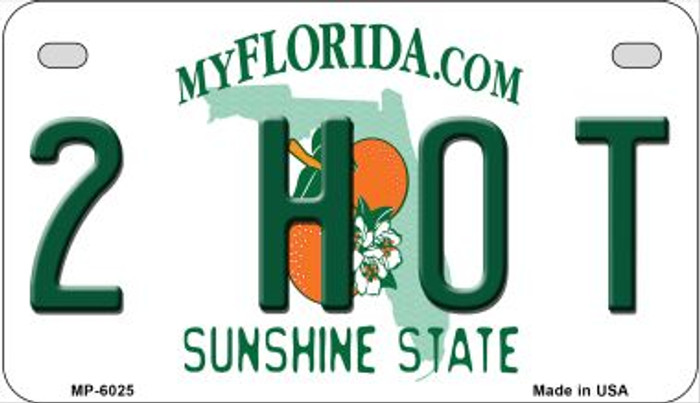 2 Hot Florida Novelty Metal Motorcycle Plate MP-6025