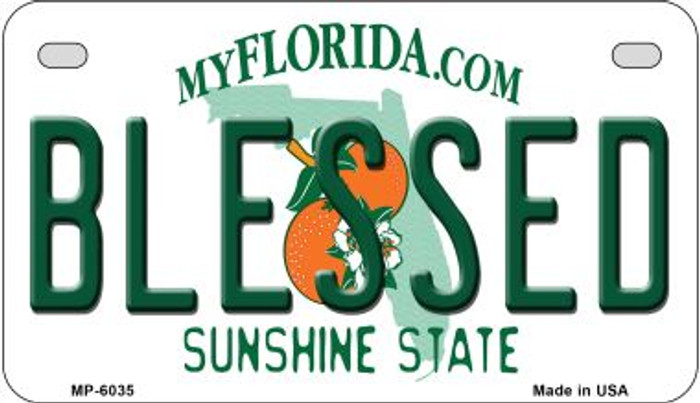 Blessed Florida Novelty Metal Motorcycle Plate MP-6035