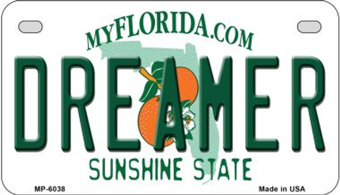 Dreamer Florida Novelty Metal Motorcycle Plate MP-6038