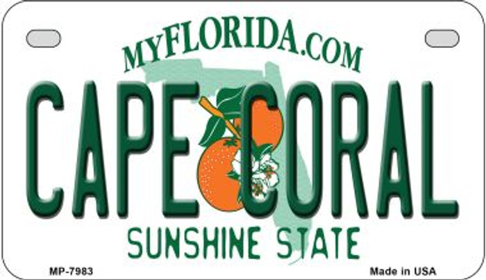 Cape Coral Florida Novelty Metal Motorcycle Plate MP-7983