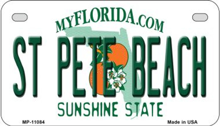 St Pete Beach Florida Novelty Metal Motorcycle Plate MP-11084